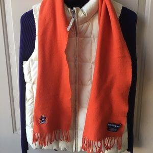 Ralph Lauren 100% lambswool scarf/bear detail.